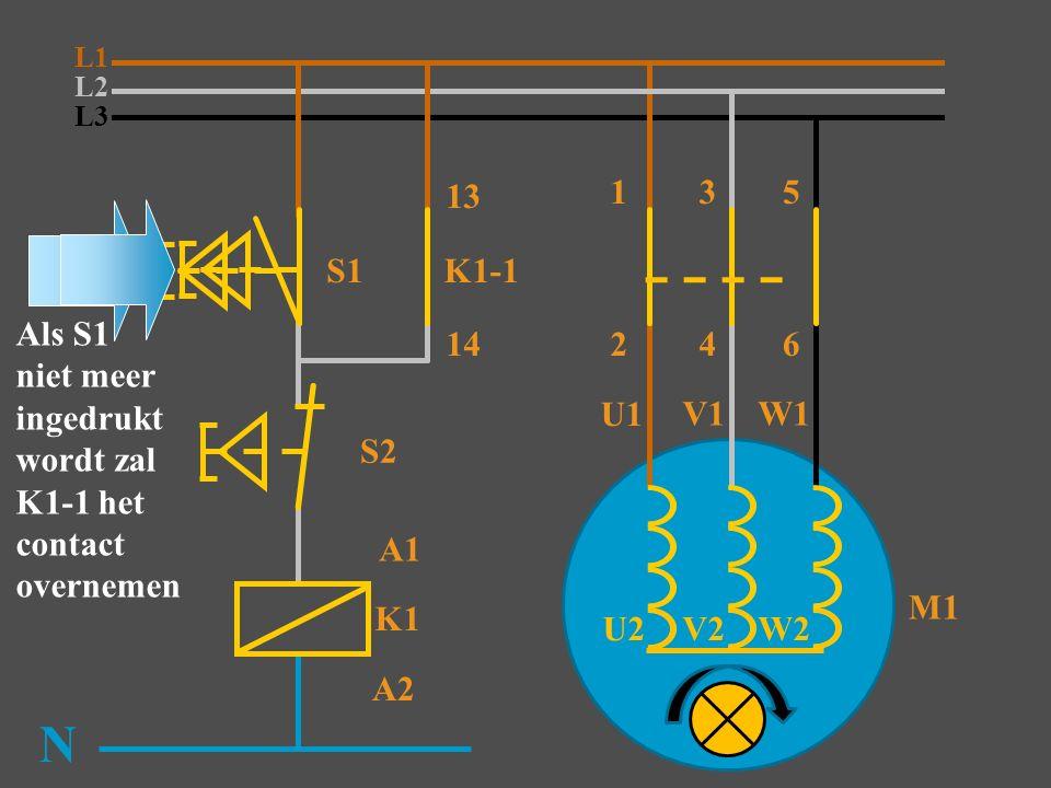 L3 S1 K1 N S2 K1-1 13 14 M1 2 A1 A2 Als S1 niet meer ingedrukt wordt zal K1-1 het contact overnemen L2 L1 135 46 U1 V1W1 W2 V2 U2