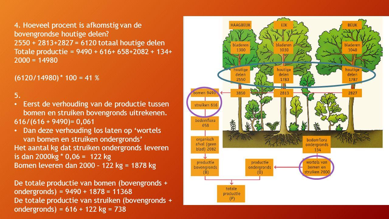 De totale productie van bomen (bovengronds + ondergronds) = 9490 + 1878 = 11368 kg De totale productie van struiken (bovengronds + ondergronds) = 616 + 122 kg = 738 kg De totale productie van bodemflora (bovengronds + ondergronds) = 658 + 134 = 792 kg De totale productie organisch afval = 2082 kg Reken het percentage uit dat elk 'onderdeel' heeft van het totaal.