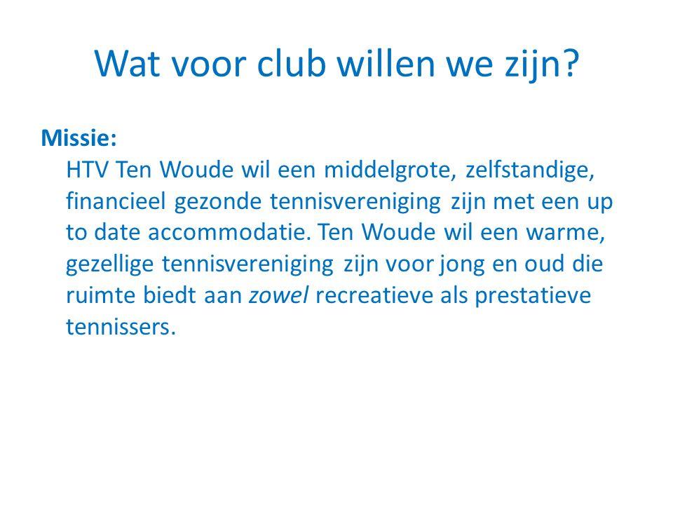 Wat voor club willen we zijn? Missie: HTV Ten Woude wil een middelgrote, zelfstandige, financieel gezonde tennisvereniging zijn met een up to date acc