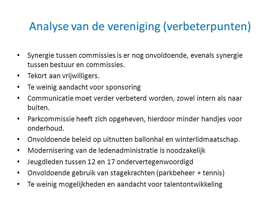 Analyse van de vereniging (verbeterpunten) Synergie tussen commissies is er nog onvoldoende, evenals synergie tussen bestuur en commissies. Tekort aan