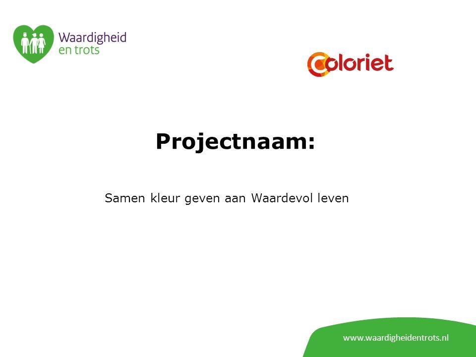 www.waardigheidentrots.nl Projectnaam: Samen kleur geven aan Waardevol leven
