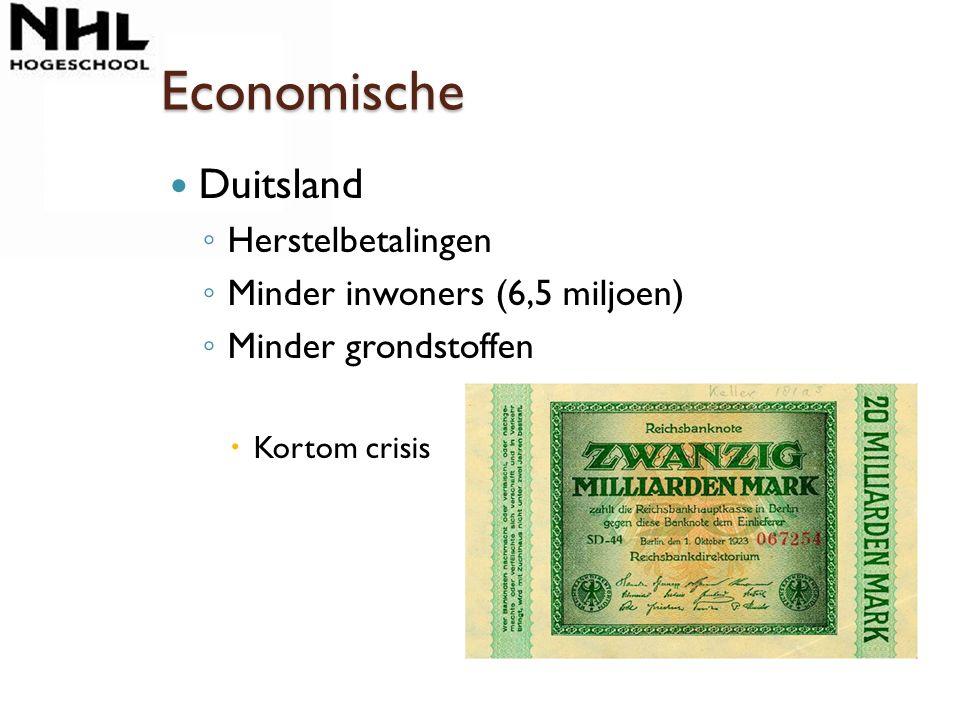 Economische Duitsland ◦ Herstelbetalingen ◦ Minder inwoners (6,5 miljoen) ◦ Minder grondstoffen  Kortom crisis
