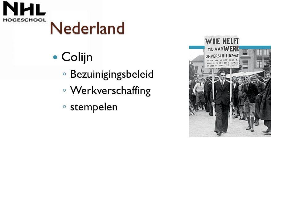 Nederland Colijn ◦ Bezuinigingsbeleid ◦ Werkverschaffing ◦ stempelen