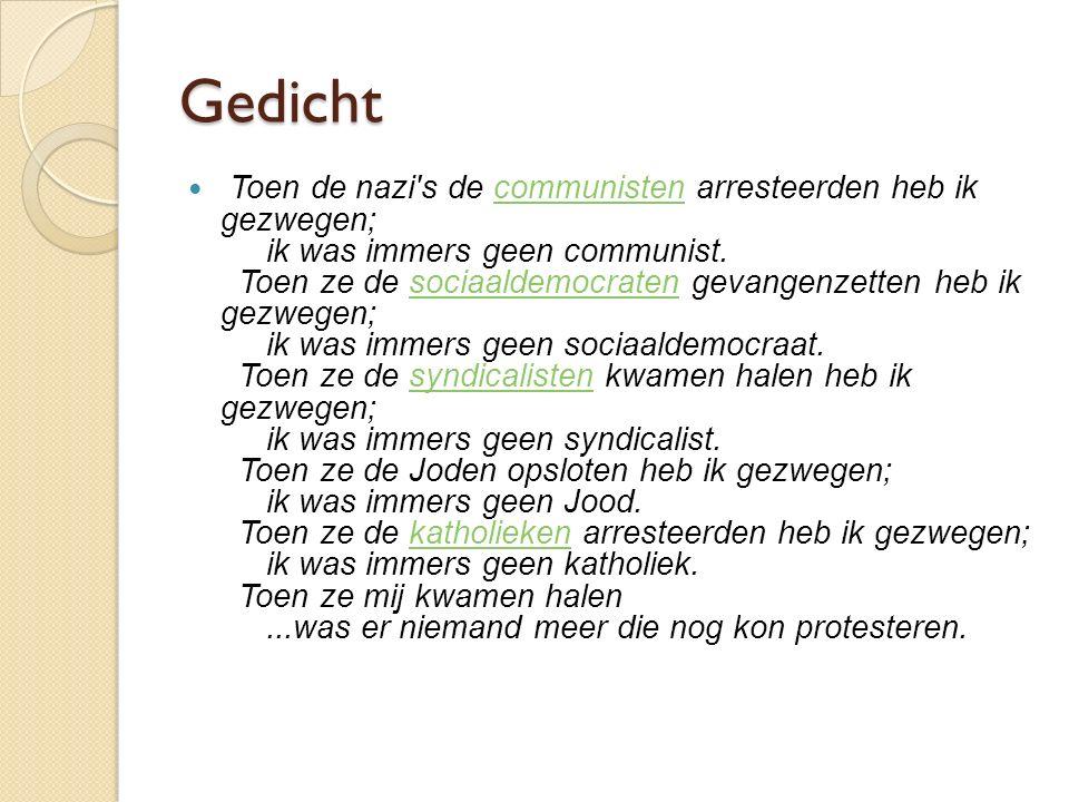 Gedicht Toen de nazi's de communisten arresteerden heb ik gezwegen; ik was immers geen communist. Toen ze de sociaaldemocraten gevangenzetten heb ik g