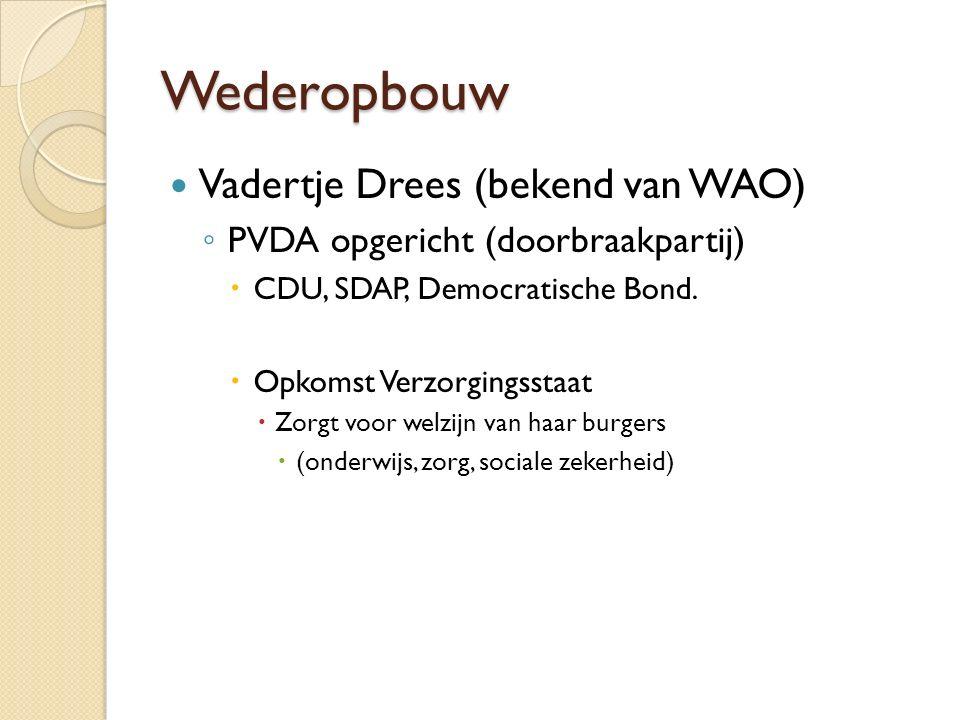 Wederopbouw Vadertje Drees (bekend van WAO) ◦ PVDA opgericht (doorbraakpartij)  CDU, SDAP, Democratische Bond.  Opkomst Verzorgingsstaat  Zorgt voo