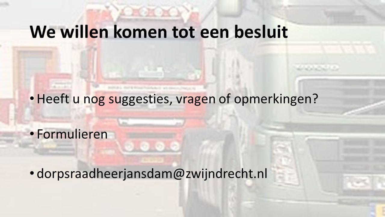 We willen komen tot een besluit Heeft u nog suggesties, vragen of opmerkingen? Formulieren dorpsraadheerjansdam@zwijndrecht.nl