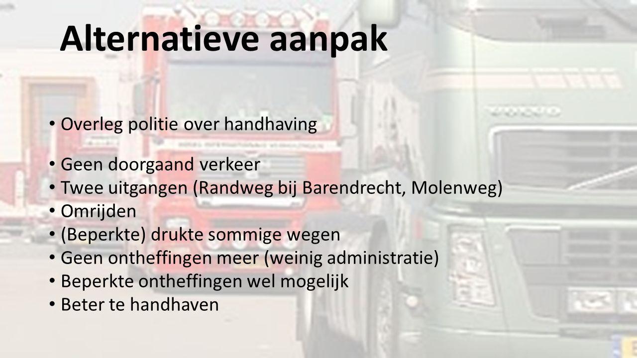 Alternatieve aanpak Overleg politie over handhaving Geen doorgaand verkeer Twee uitgangen (Randweg bij Barendrecht, Molenweg) Omrijden (Beperkte) druk