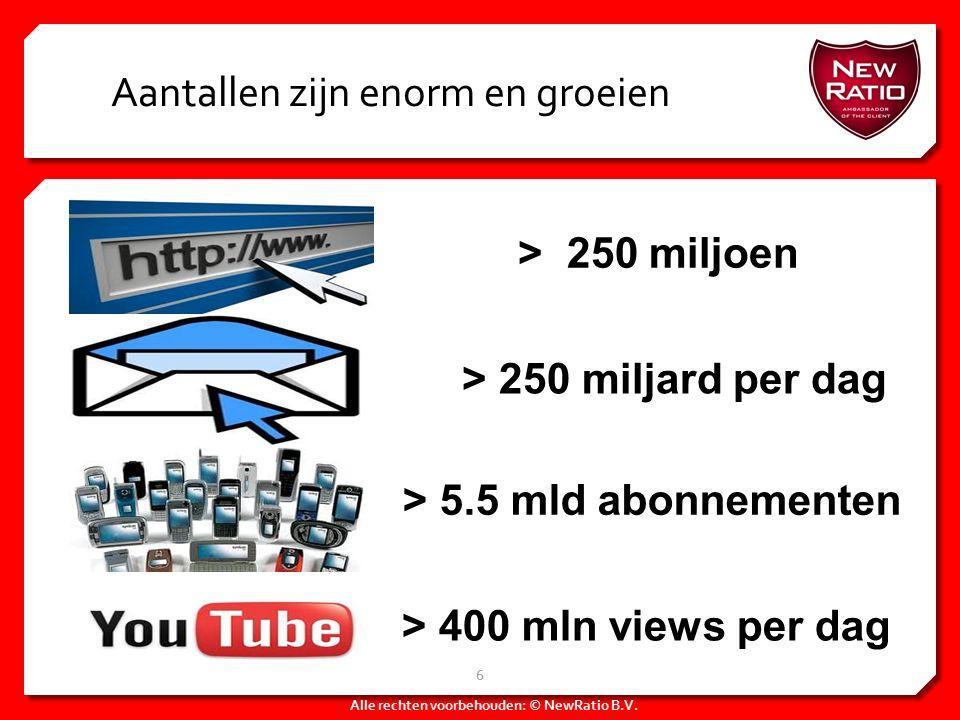 Aantallen zijn enorm en groeien Alle rechten voorbehouden: © NewRatio B.V. 6 > 250 miljoen > 250 miljard per dag > 5.5 mld abonnementen > 400 mln view