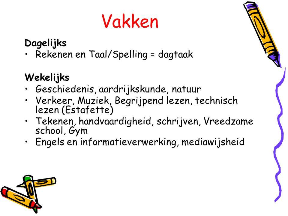 Zelfstandig werken Dagtaak = rekenen en taal/Spelling etc.