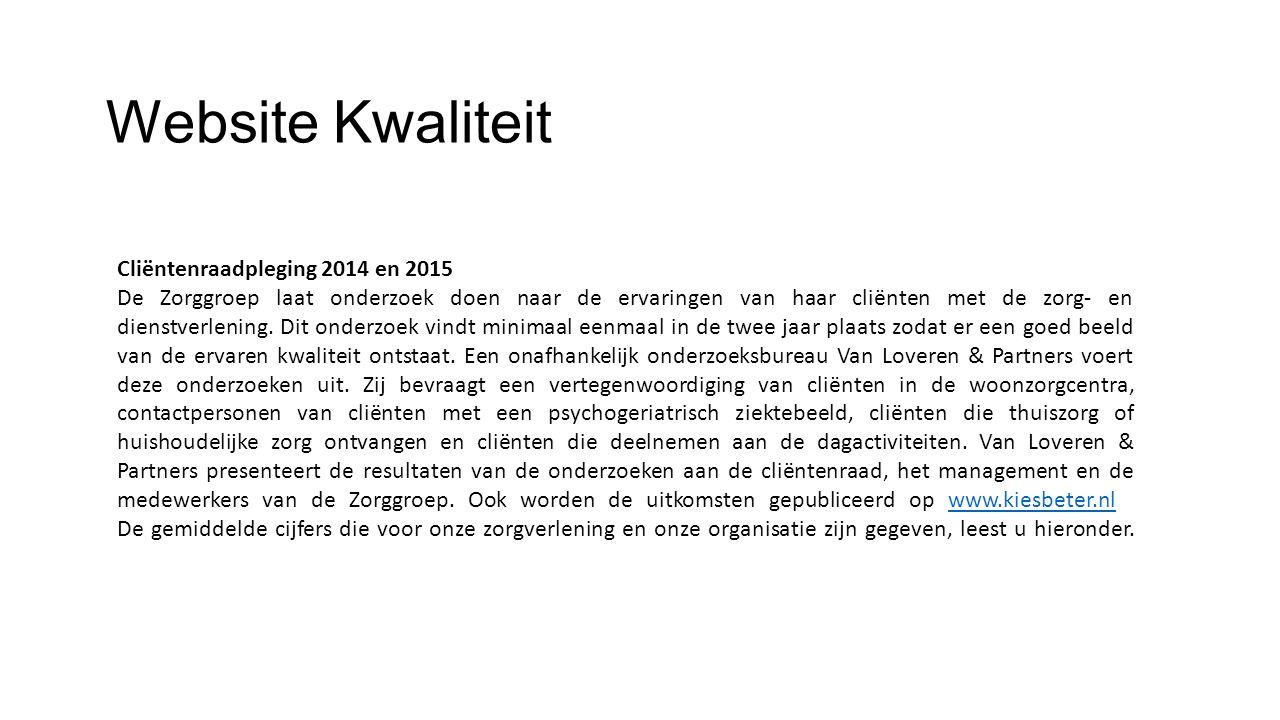 Website Kwaliteit Cliëntenraadpleging 2014 en 2015 De Zorggroep laat onderzoek doen naar de ervaringen van haar cliënten met de zorg- en dienstverlening.