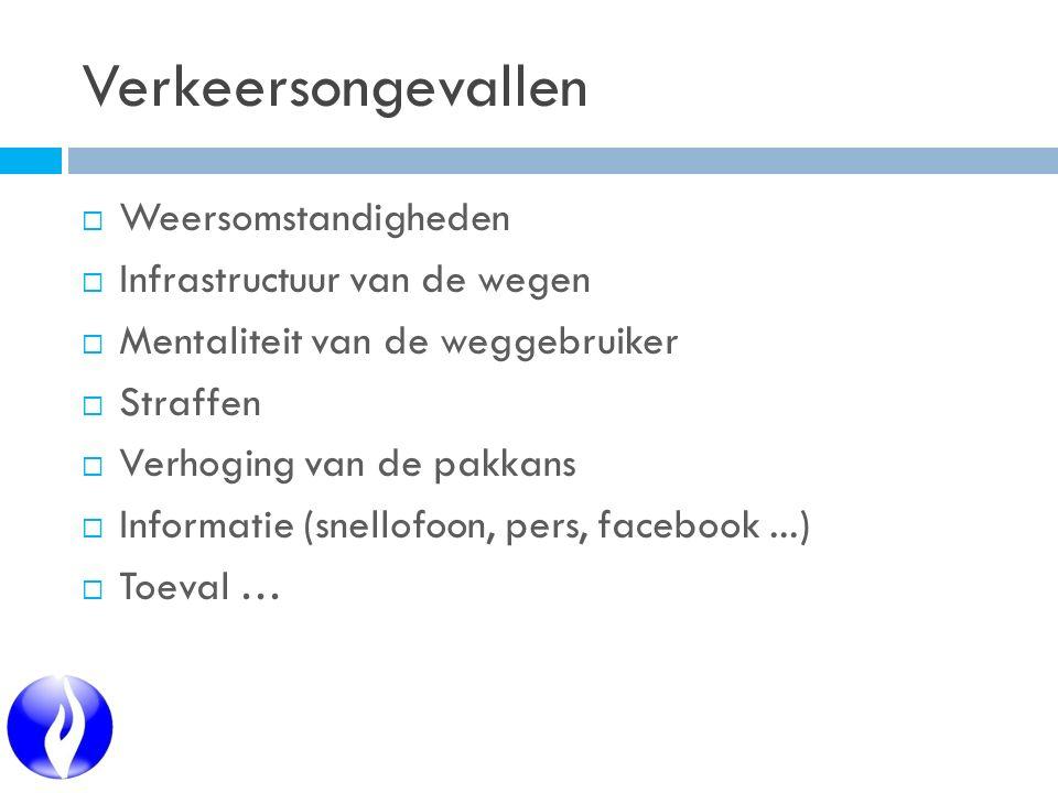  Weersomstandigheden  Infrastructuur van de wegen  Mentaliteit van de weggebruiker  Straffen  Verhoging van de pakkans  Informatie (snellofoon, pers, facebook...)  Toeval …