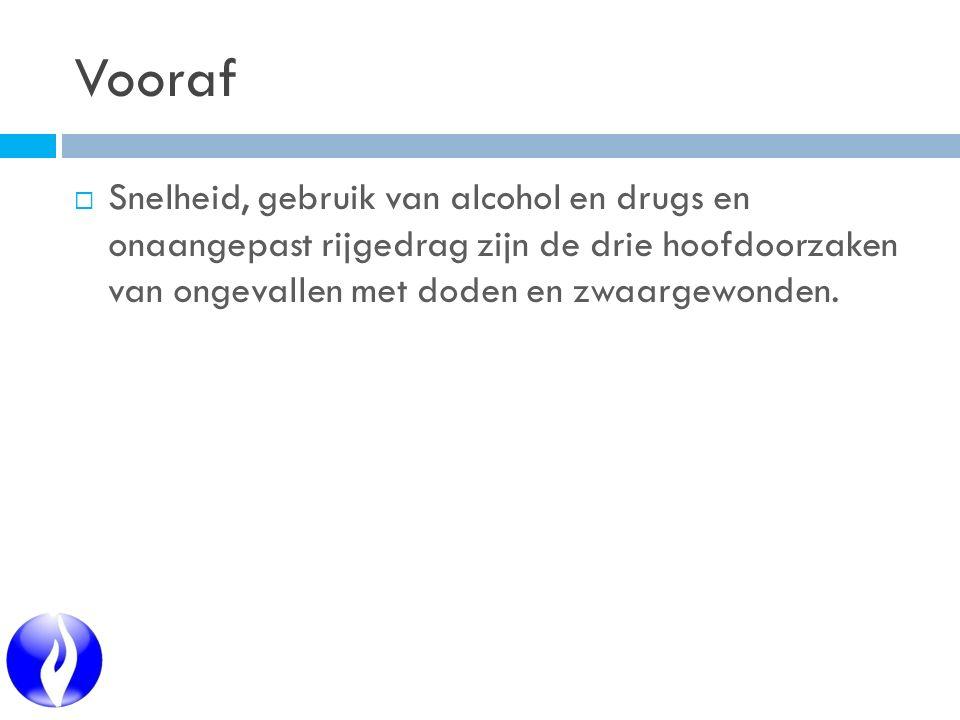 Vooraf  Snelheid, gebruik van alcohol en drugs en onaangepast rijgedrag zijn de drie hoofdoorzaken van ongevallen met doden en zwaargewonden.