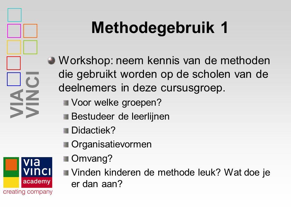 VIAVINCI Methodegebruik 1 Workshop: neem kennis van de methoden die gebruikt worden op de scholen van de deelnemers in deze cursusgroep.
