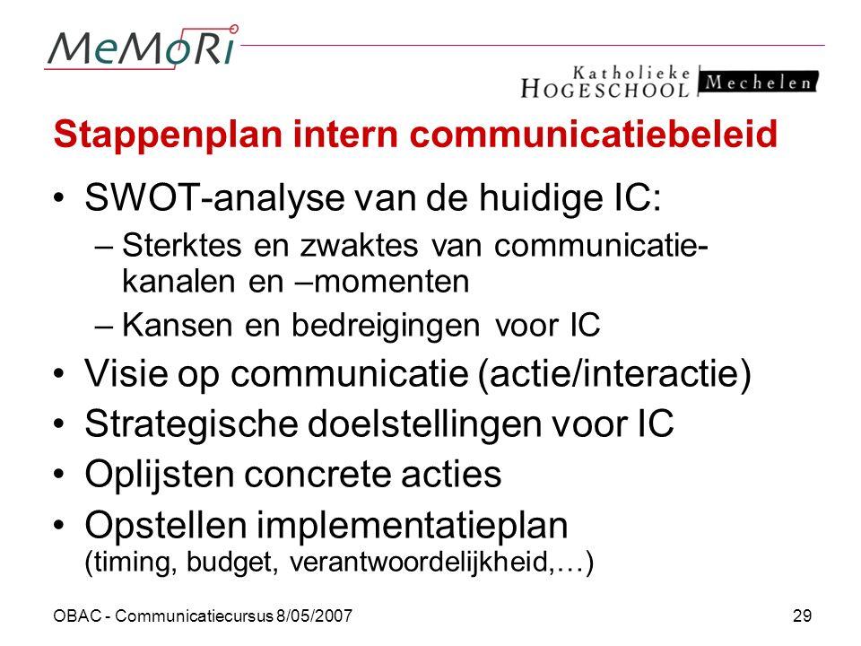 OBAC - Communicatiecursus 8/05/200729 Stappenplan intern communicatiebeleid SWOT-analyse van de huidige IC: –Sterktes en zwaktes van communicatie- kan