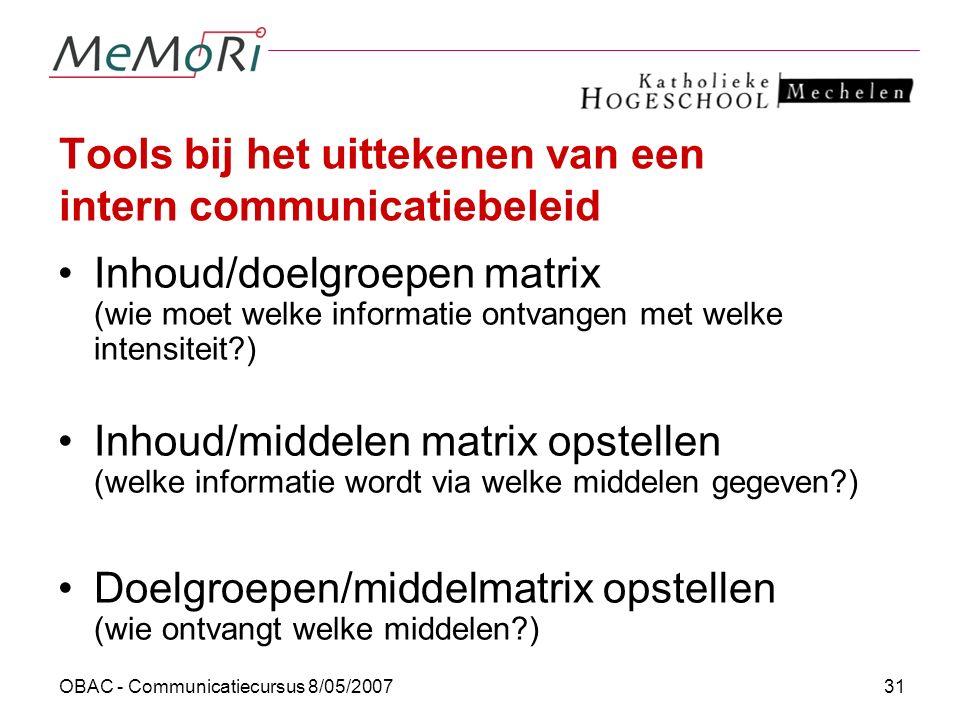 OBAC - Communicatiecursus 8/05/200731 Tools bij het uittekenen van een intern communicatiebeleid Inhoud/doelgroepen matrix (wie moet welke informatie