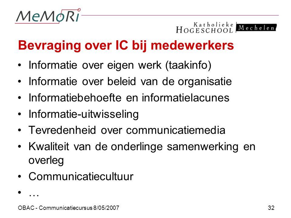 OBAC - Communicatiecursus 8/05/200732 Bevraging over IC bij medewerkers Informatie over eigen werk (taakinfo) Informatie over beleid van de organisati