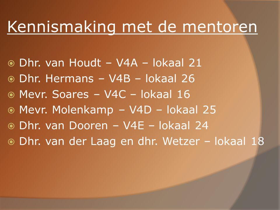 Kennismaking met de mentoren  Dhr. van Houdt – V4A – lokaal 21  Dhr. Hermans – V4B – lokaal 26  Mevr. Soares – V4C – lokaal 16  Mevr. Molenkamp –