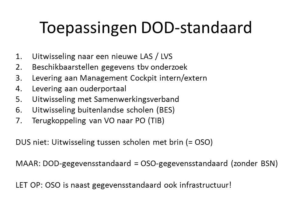 Toepassingen DOD-standaard 1.Uitwisseling naar een nieuwe LAS / LVS 2.Beschikbaarstellen gegevens tbv onderzoek 3.Levering aan Management Cockpit intern/extern 4.Levering aan ouderportaal 5.Uitwisseling met Samenwerkingsverband 6.Uitwisseling buitenlandse scholen (BES) 7.Terugkoppeling van VO naar PO (TIB) DUS niet: Uitwisseling tussen scholen met brin (= OSO) MAAR: DOD-gegevensstandaard = OSO-gegevensstandaard (zonder BSN) LET OP: OSO is naast gegevensstandaard ook infrastructuur!