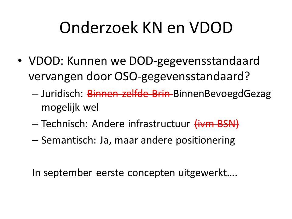 Onderzoek KN en VDOD VDOD: Kunnen we DOD-gegevensstandaard vervangen door OSO-gegevensstandaard.