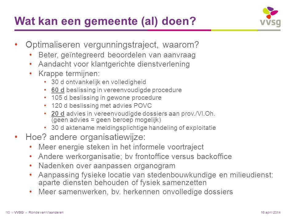 VVSG - Wat kan een gemeente (al) doen. Optimaliseren vergunningstraject, waarom.