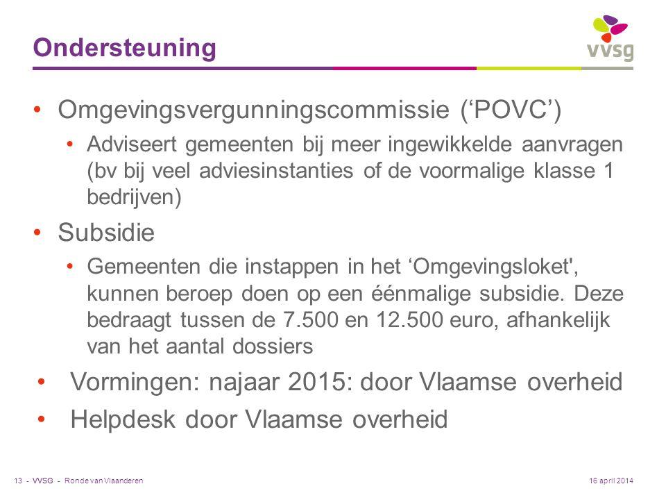 VVSG - Ondersteuning Omgevingsvergunningscommissie ('POVC') Adviseert gemeenten bij meer ingewikkelde aanvragen (bv bij veel adviesinstanties of de voormalige klasse 1 bedrijven) Subsidie Gemeenten die instappen in het 'Omgevingsloket , kunnen beroep doen op een éénmalige subsidie.