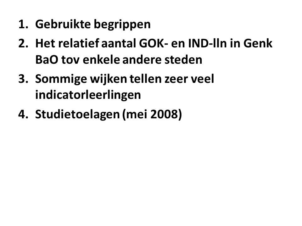 1.Gebruikte begrippen 2.Het relatief aantal GOK- en IND-lln in Genk BaO tov enkele andere steden 3.Sommige wijken tellen zeer veel indicatorleerlingen 4.Studietoelagen (mei 2008)