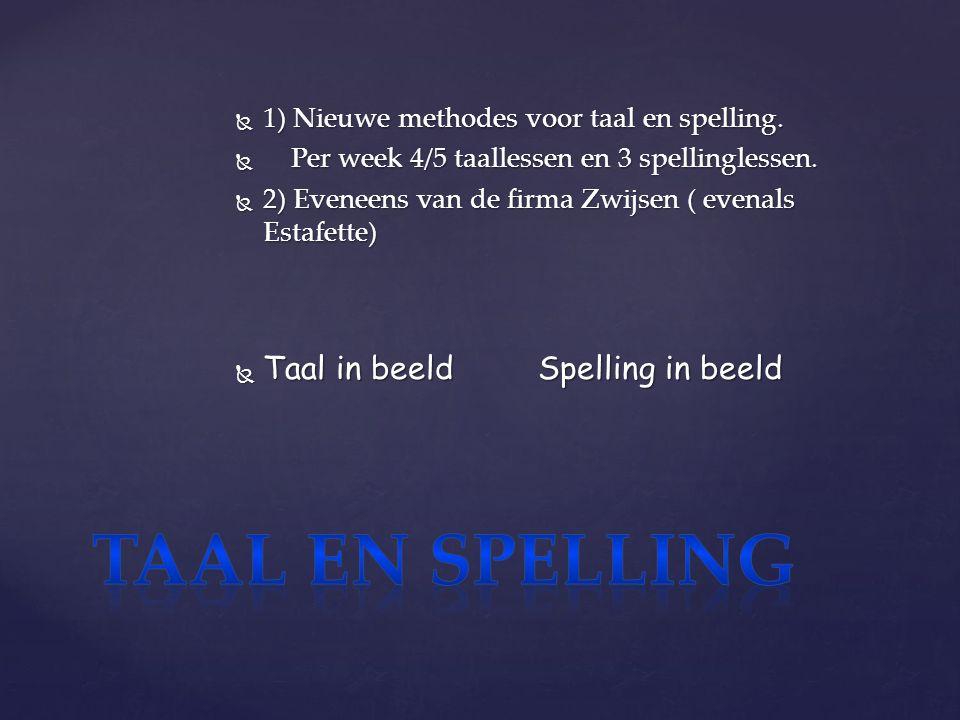  1) Nieuwe methodes voor taal en spelling.  Per week 4/5 taallessen en 3 spellinglessen.
