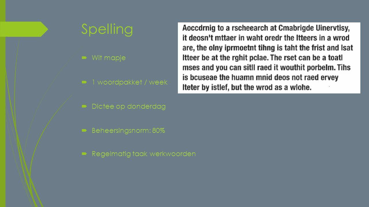 Spelling  Wit mapje  1 woordpakket / week  Dictee op donderdag  Beheersingsnorm: 80%  Regelmatig taak werkwoorden