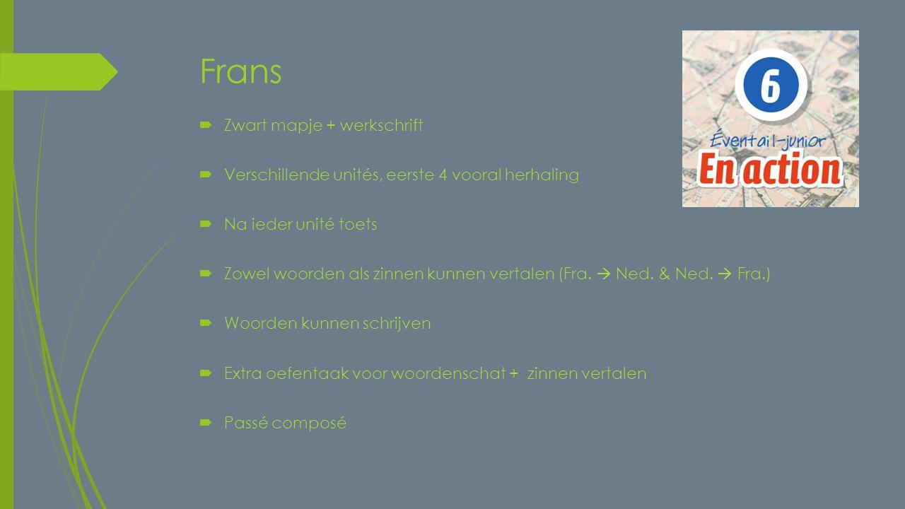 Frans  Zwart mapje + werkschrift  Verschillende unités, eerste 4 vooral herhaling  Na ieder unité toets  Zowel woorden als zinnen kunnen vertalen (Fra.