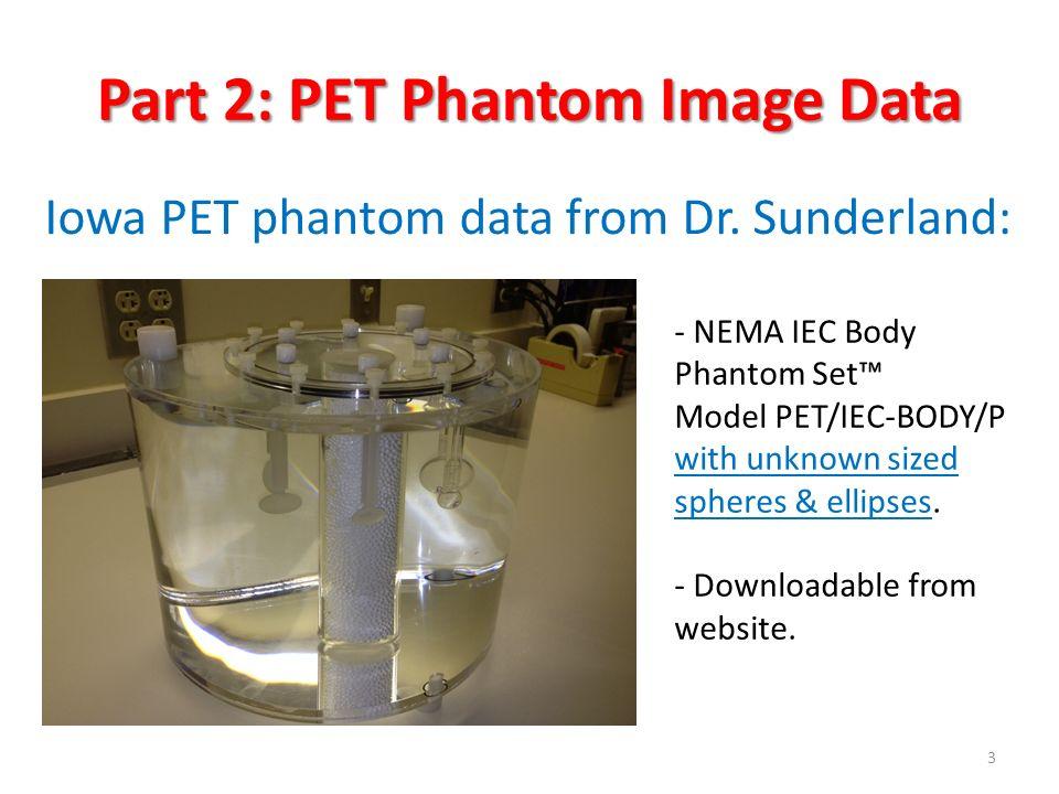 Four Image Sets per Site HIGH Statistics (HS) 30 minute Scan with HIGH Contrast (HC) [9.77:1] HIGH Statistics (HS) 30 minute Scan with LOW Contrast (LC) [4.88:1] 10 x LOW Statistics (LS) 3 minute Scan with HIGH Contrast (HC) [9.77:1] 10 x LOW Statistics (LS) 3 minute Scan with LOW Contrast (LC) [4.88:1] Iowa PET Phantom Data 4