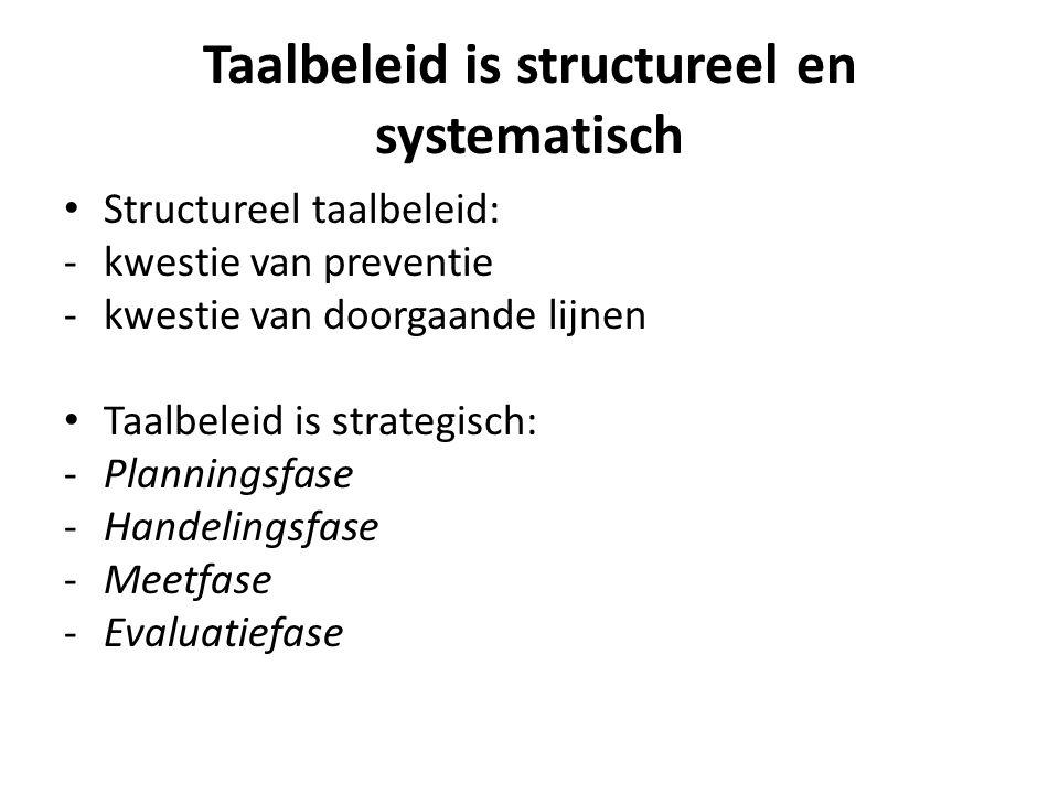 Taalbeleid is structureel en systematisch Structureel taalbeleid: -kwestie van preventie -kwestie van doorgaande lijnen Taalbeleid is strategisch: -Pl