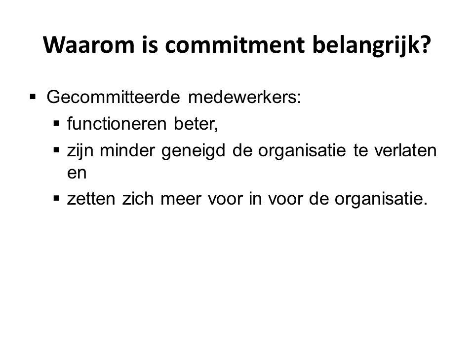 Waarom is commitment belangrijk?  Gecommitteerde medewerkers:  functioneren beter,  zijn minder geneigd de organisatie te verlaten en  zetten zich