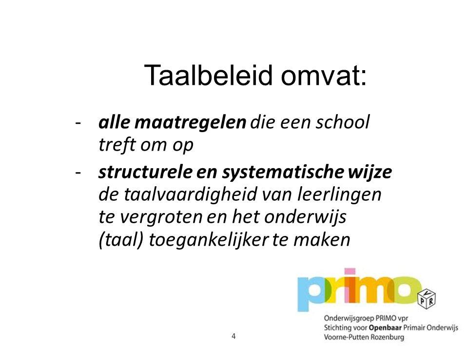 Taalbeleid omvat: -alle maatregelen die een school treft om op -structurele en systematische wijze de taalvaardigheid van leerlingen te vergroten en h