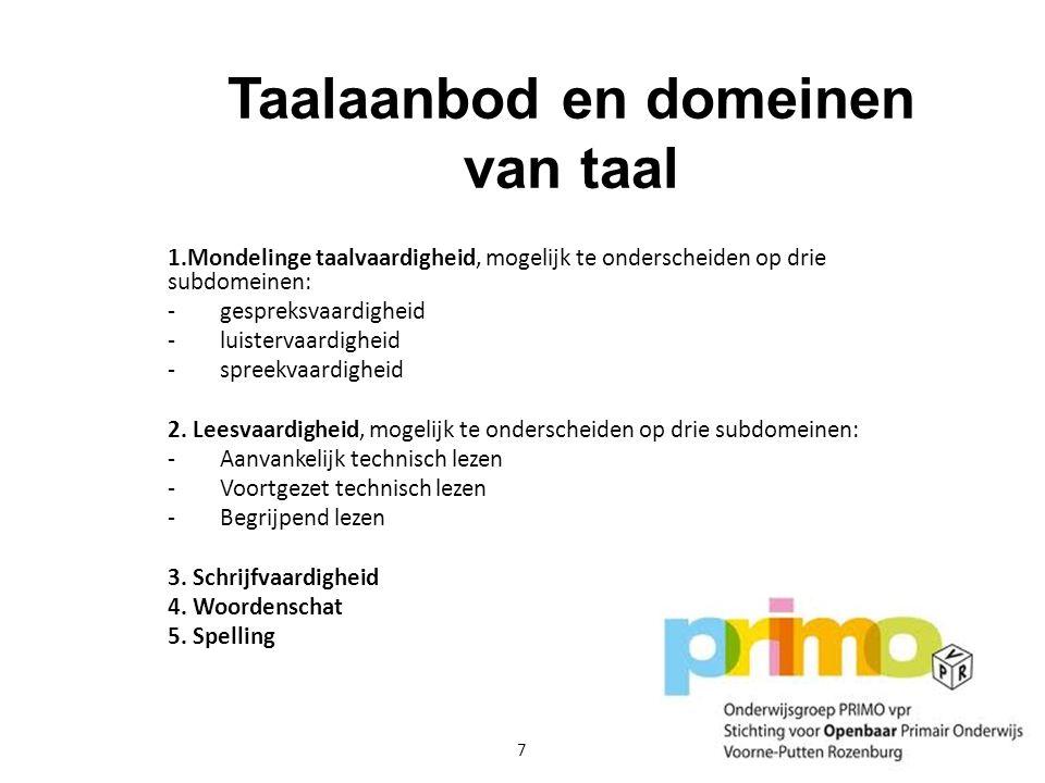 Taalaanbod en domeinen van taal 1.Mondelinge taalvaardigheid, mogelijk te onderscheiden op drie subdomeinen: -gespreksvaardigheid -luistervaardigheid