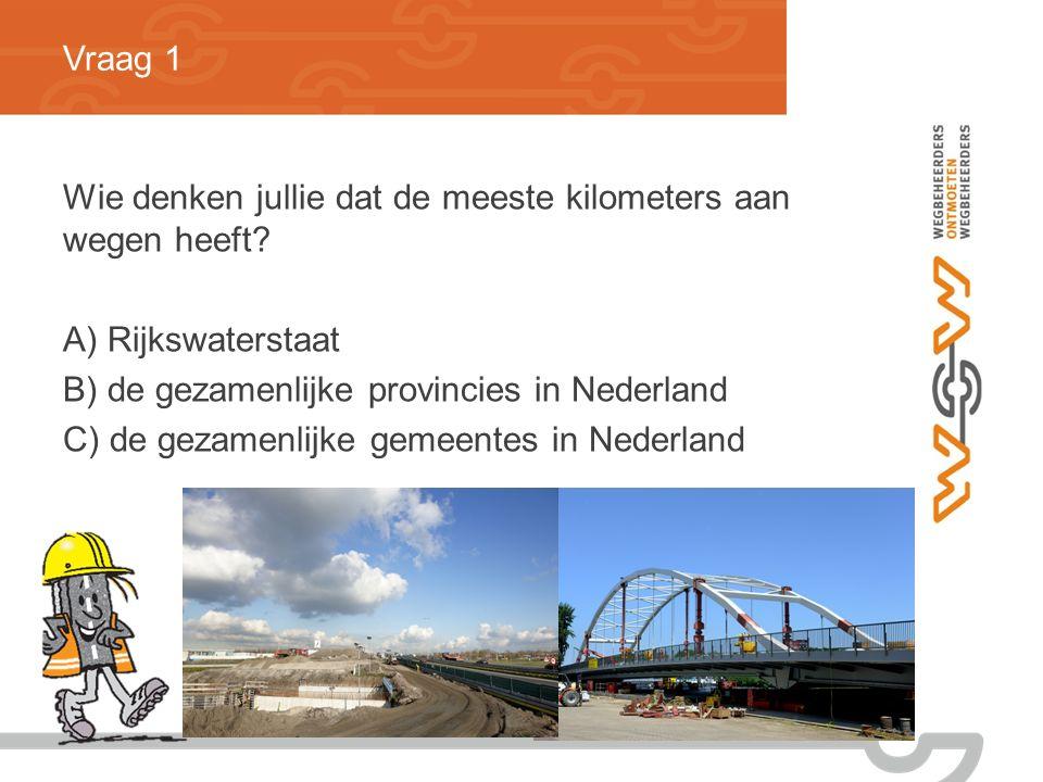 Vraag 1 Wie denken jullie dat de meeste kilometers aan wegen heeft.