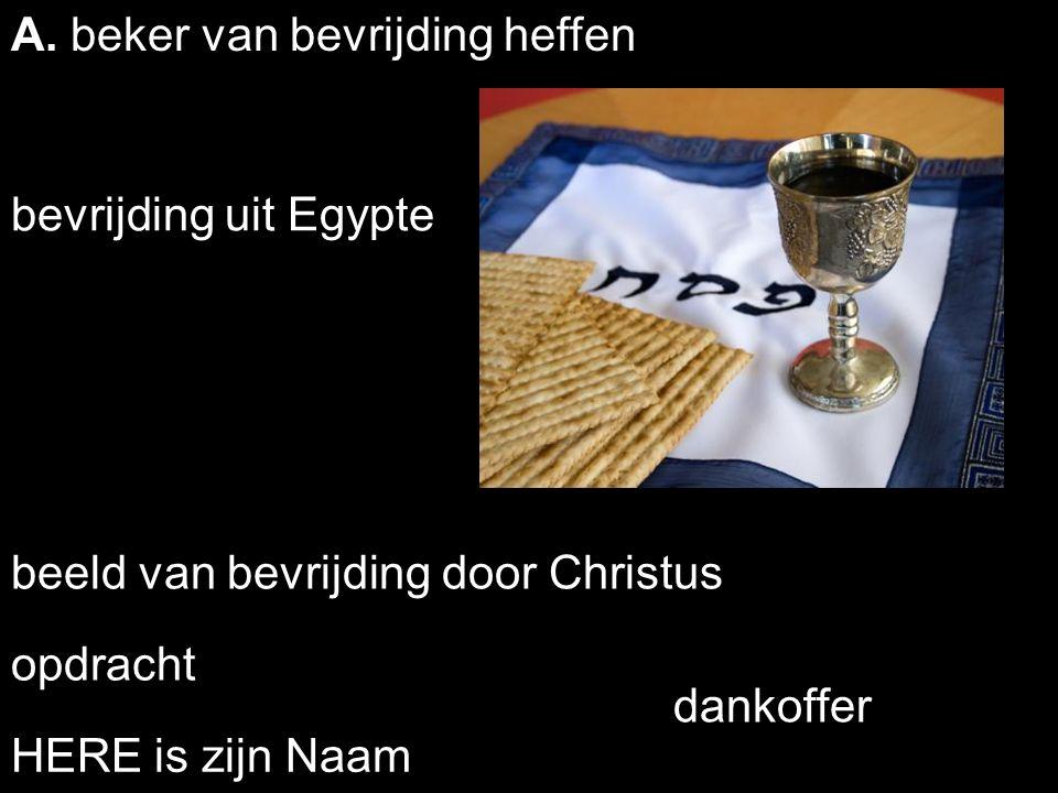 . opdracht bevrijding uit Egypte beeld van bevrijding door Christus HERE is zijn Naam A. beker van bevrijding heffen dankoffer
