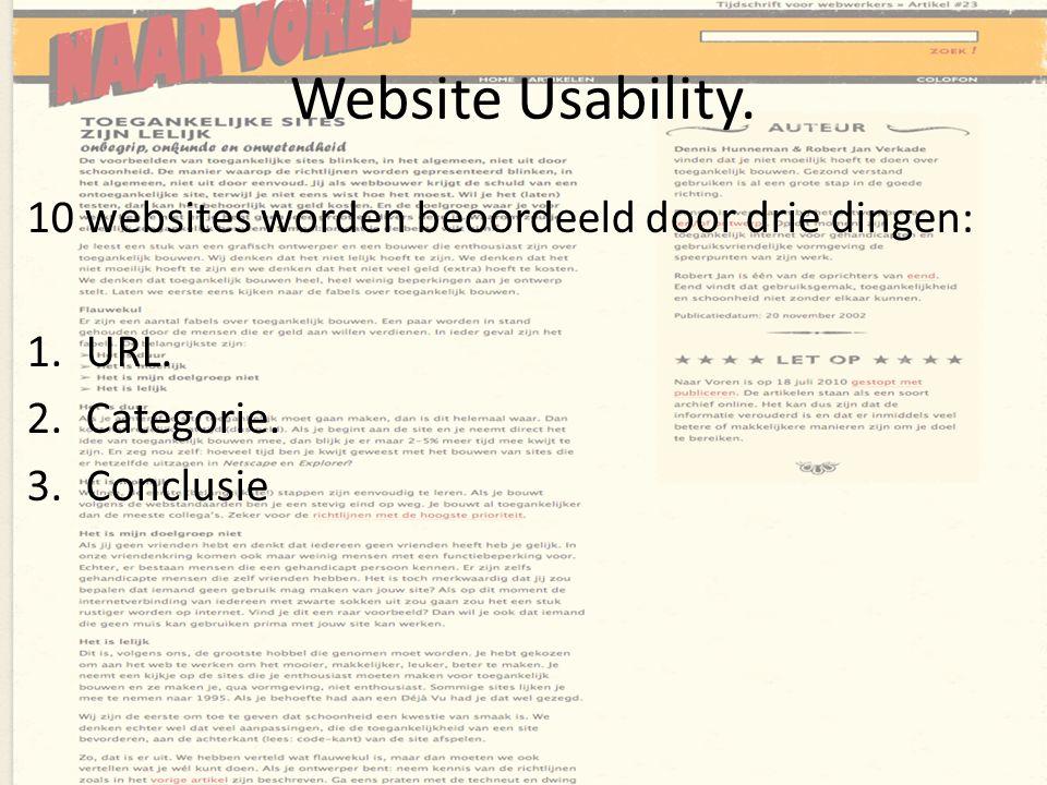 Website Usability. 10 websites worden beoordeeld door drie dingen: 1.URL. 2.Categorie. 3.Conclusie