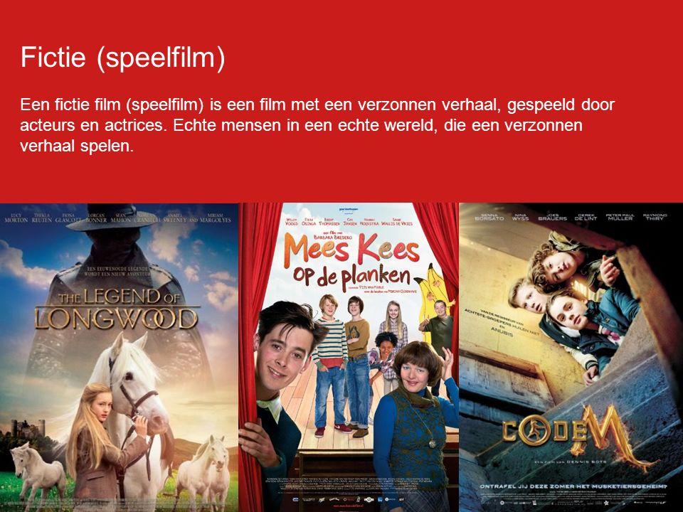 Fictie (speelfilm) Een fictie film (speelfilm) is een film met een verzonnen verhaal, gespeeld door acteurs en actrices.
