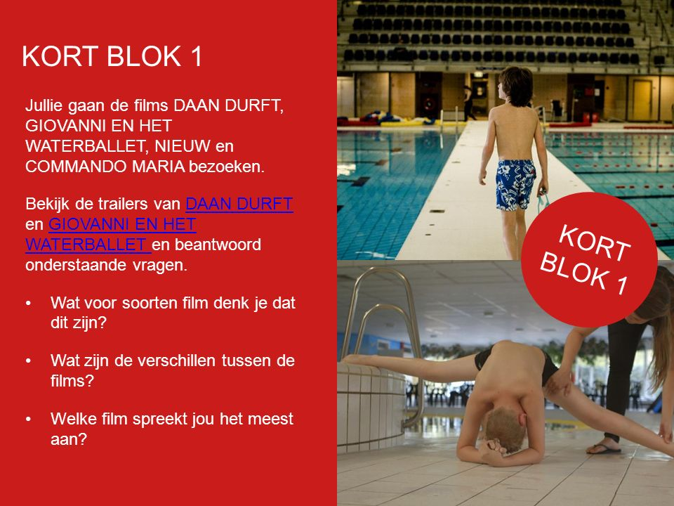 Filmp oster Jullie gaan de films DAAN DURFT, GIOVANNI EN HET WATERBALLET, NIEUW en COMMANDO MARIA bezoeken.