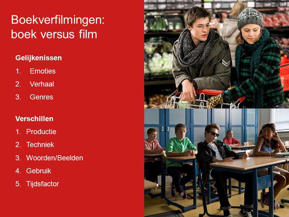 Gelijkenissen 1.Emoties 2.Verhaal 3.Genres Verschillen 1.Productie 2.Techniek 3.Woorden/Beelden 4.Gebruik 5.Tijdsfactor Boekverfilmingen: boek versus