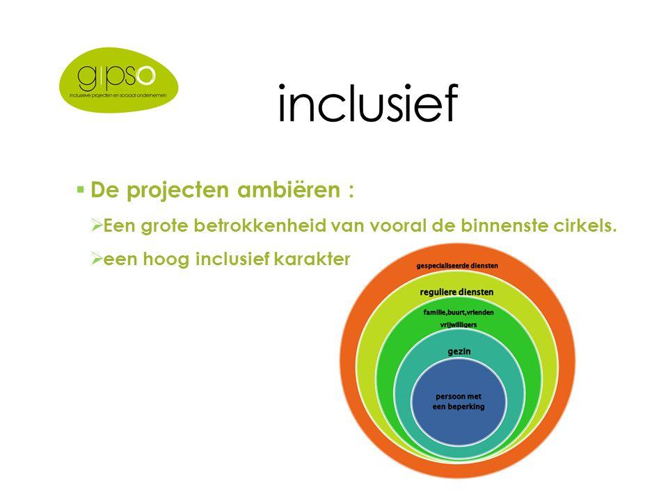 inclusief  De projecten ambiëren :  Een grote betrokkenheid van vooral de binnenste cirkels.