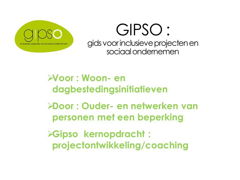 GIPSO : gids voor inclusieve projecten en sociaal ondernemen  Voor : Woon- en dagbestedingsinitiatieven  Door : Ouder- en netwerken van personen met een beperking  Gipso kernopdracht : projectontwikkeling/coaching