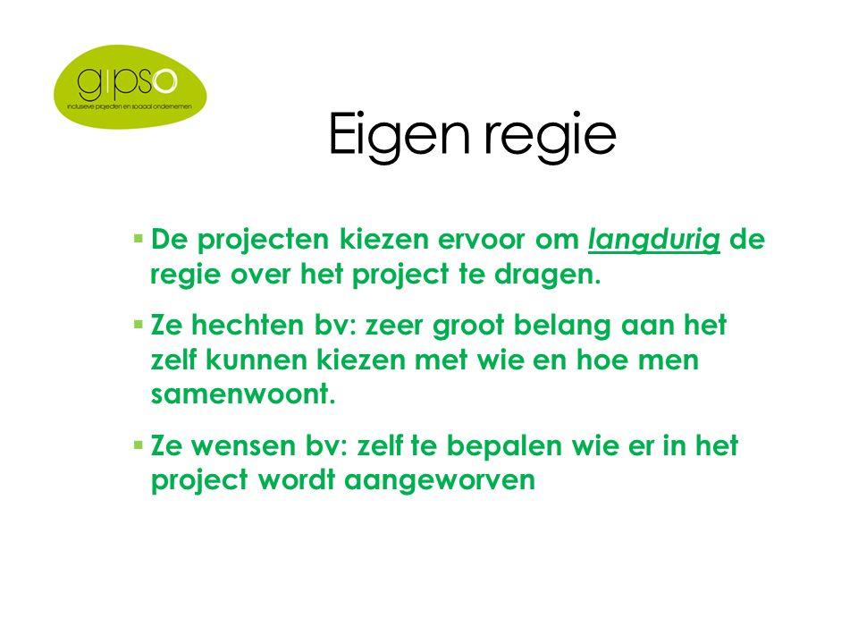 Eigen regie  De projecten kiezen ervoor om langdurig de regie over het project te dragen.