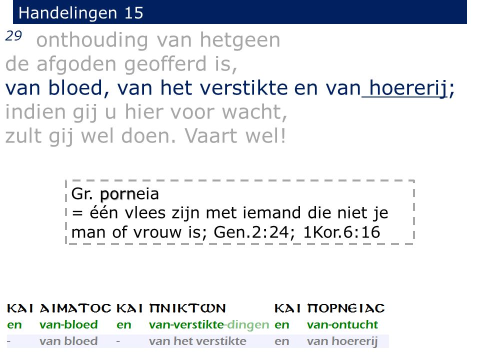 Handelingen 15 29 onthouding van hetgeen de afgoden geofferd is, van bloed, van het verstikte en van hoererij; indien gij u hier voor wacht, zult gij wel doen.