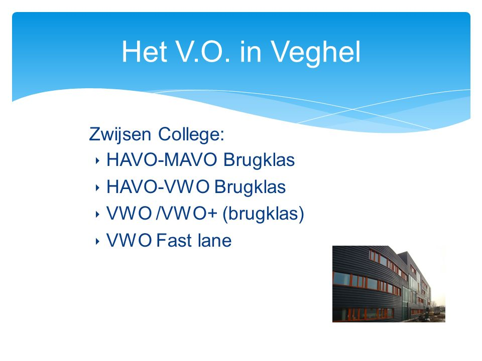 Zwijsen College: ‣ HAVO-MAVO Brugklas ‣ HAVO-VWO Brugklas ‣ VWO /VWO+ (brugklas) ‣ VWO Fast lane Het V.O.