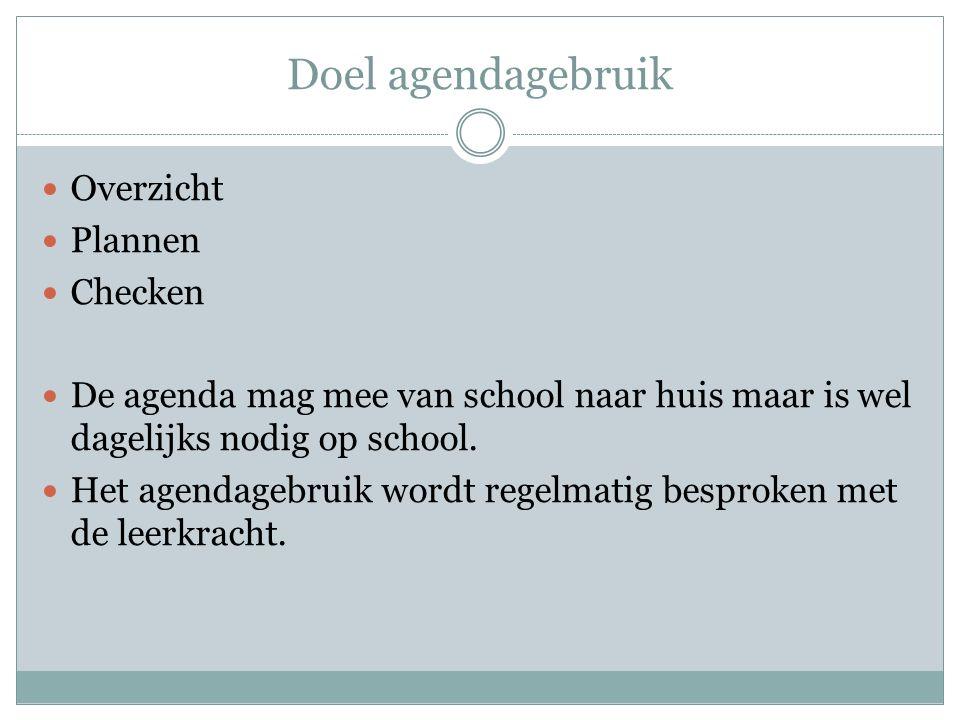 Doel agendagebruik Overzicht Plannen Checken De agenda mag mee van school naar huis maar is wel dagelijks nodig op school.