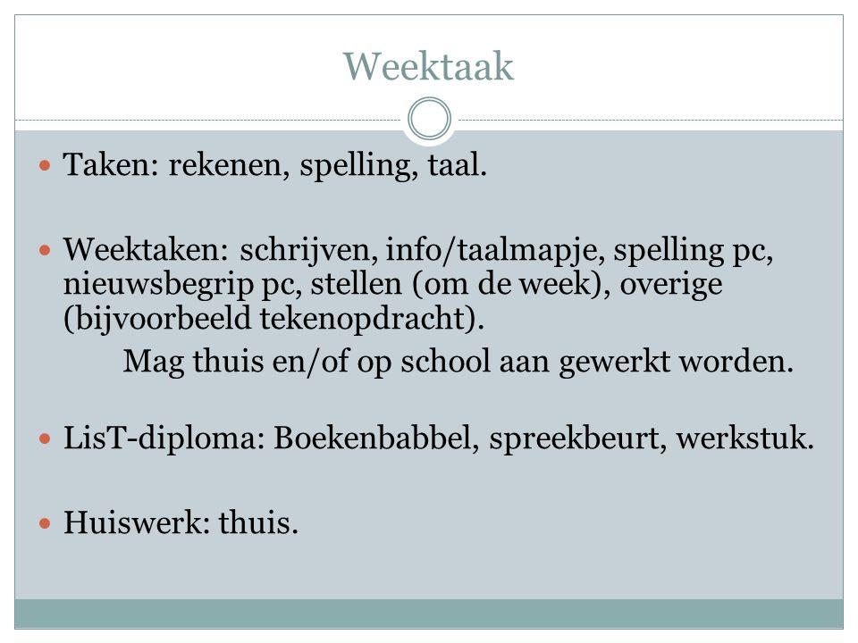 Weektaak Taken: rekenen, spelling, taal.