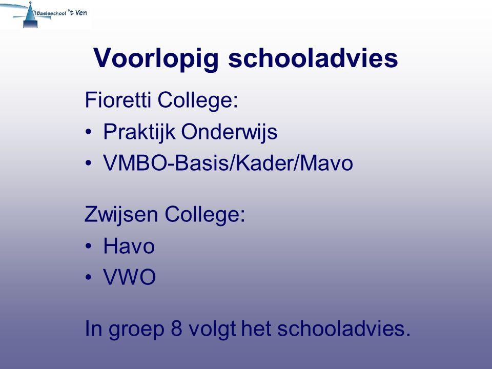 Voorlopig schooladvies Fioretti College: Praktijk Onderwijs VMBO-Basis/Kader/Mavo Zwijsen College: Havo VWO In groep 8 volgt het schooladvies.