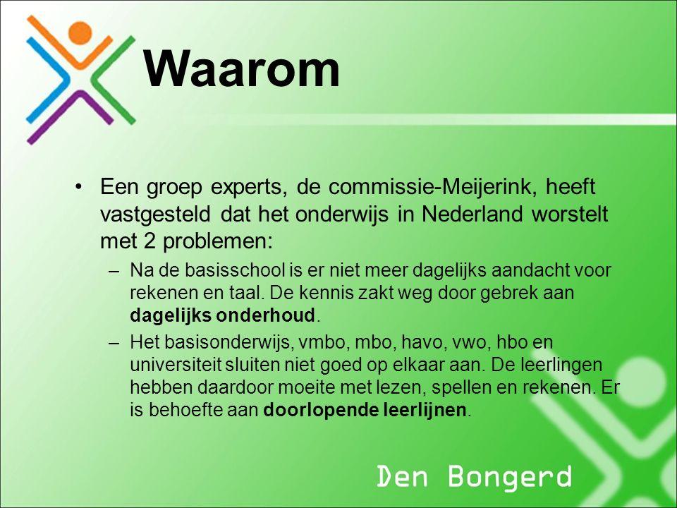 Een groep experts, de commissie-Meijerink, heeft vastgesteld dat het onderwijs in Nederland worstelt met 2 problemen: –Na de basisschool is er niet meer dagelijks aandacht voor rekenen en taal.