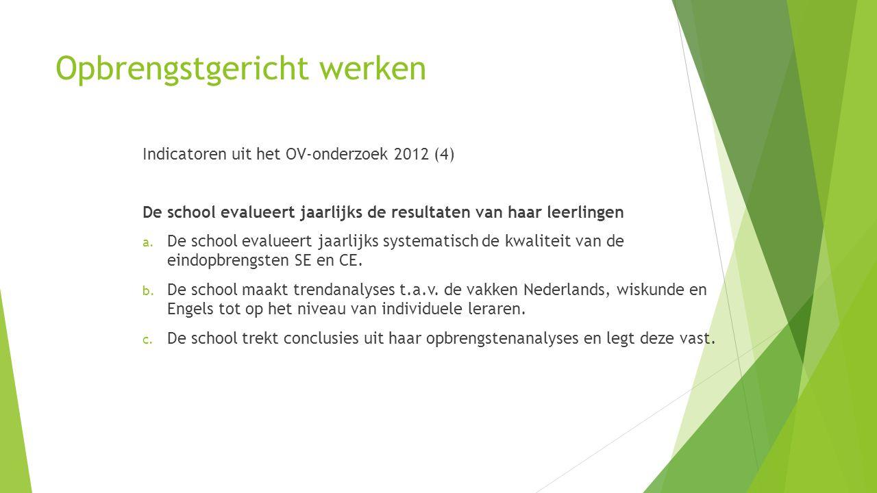 Opbrengstgericht werken Indicatoren uit het OV-onderzoek 2012 (4) De school evalueert jaarlijks de resultaten van haar leerlingen a. De school evaluee